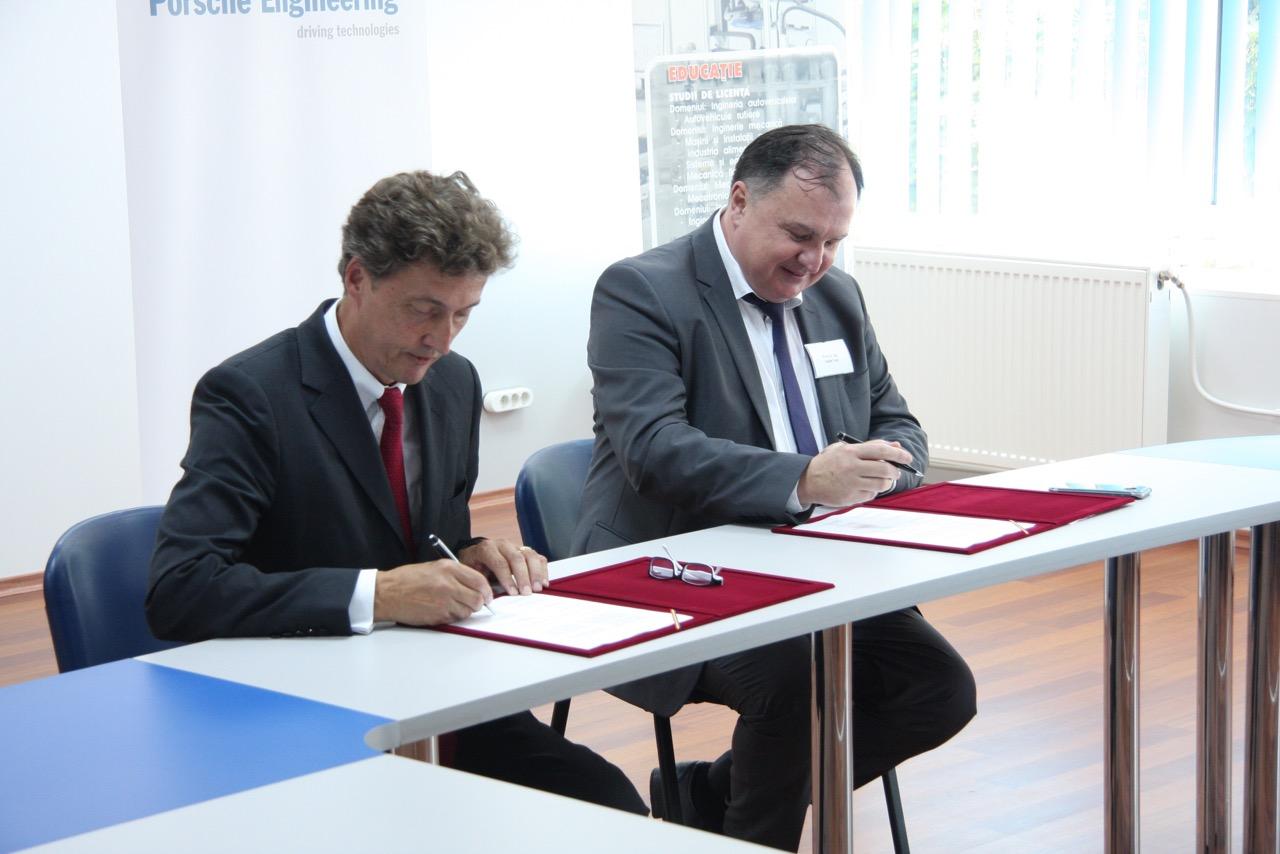 semnarea parteneriatului utcn - porsche engineering romania