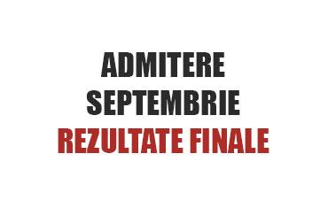 admitere septembrie - rezultare finale