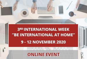 """be international at home"". online international week 9 - 12 november 2020"