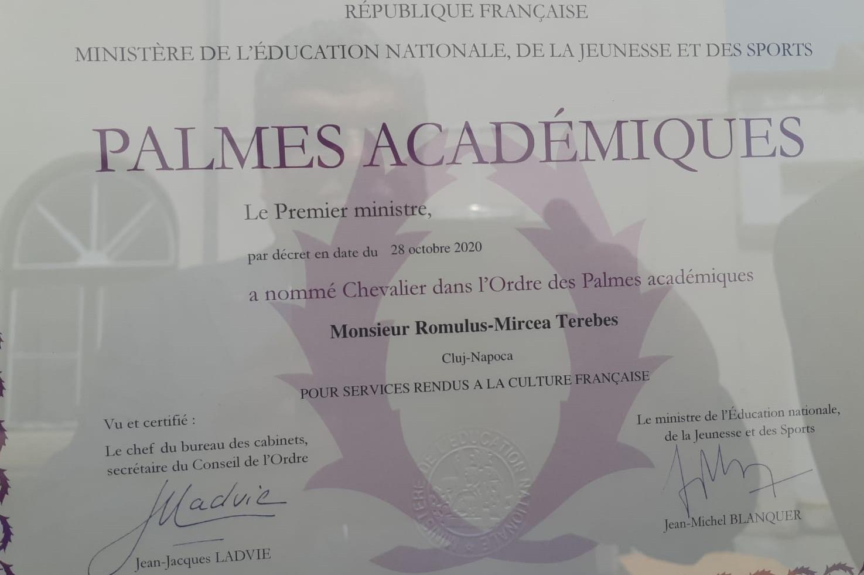 prof. dr.ing. romulus terebeș decorat cu ordinul palmes  académiques de către ambasadoarea franței